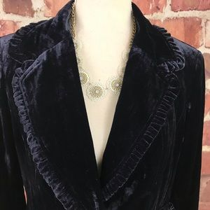 INC | Crushed Velvet Ruffle Detail Blazer Sz M